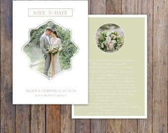 Save the date wedding photography template-Bridal Card-Vertical save the date double sided card