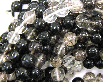 "10mm black moss quartz round beads 15.5"" strand 34120"