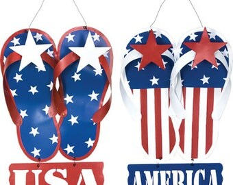Patriotic flip flop sign, flip flop Sign, USA flip flops, red white and blue flip flops, patriotic sign, patriotic flip flops, July 4th sign