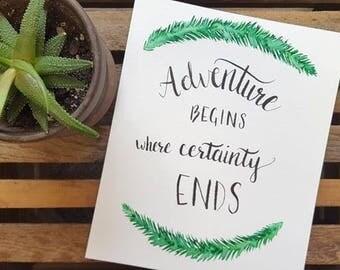 Adventure Quote Watercolor Wall Art