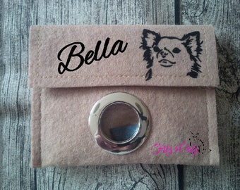 Dog waste bag with request name and motif