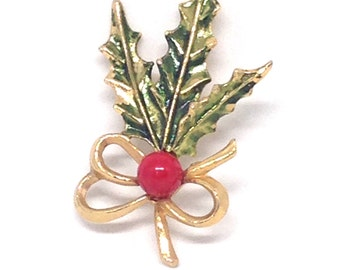 Stunning Vintage Estate Gold Tone Holiday Festive Christmas Brooch