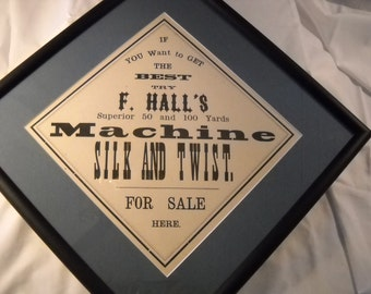 Antique Framed Halls Sewing Machine Thread Sign