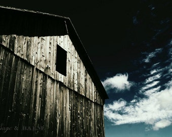 Barn photography, rustic barn, architecture photography, abandoned building, haunting photography, dark building,barn board, nostalgic print