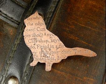 Cat brooch, cat pin, cat jewellery, animal jewellery, copper brooch, kitty brooch, kitty pin, poetry jewellery, fluffy cat