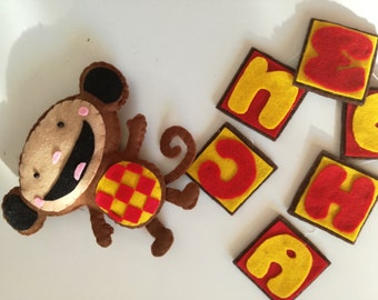 Oliver monkey baby TV banner name felt ABC alphabet letters Kids room nursery mobile stitchable gift