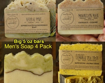 Men's Soap Sampler | Artisan Man Soap, Cool Guys Gift, Mens Natural Soap, Natural Man Soap, Natural Mens Soap, Good Gifts for Guys
