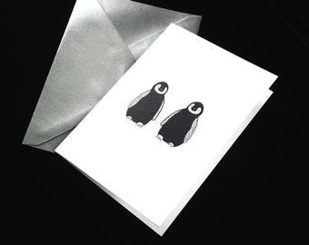 Penguins illustration - 3 Cards -  With silver envelopes