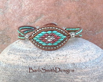 Turquoise Silver Leather One Wrap Beaded Bracelet - The Starry-Eyed One in Turquoise - Custom size it!