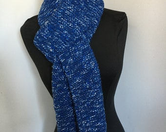 Knitted Very Soft  Long Denim Blue Tweed Scarf