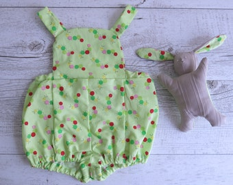 Green Caterpillar Romper Overalls Baby Matching Set Toy Bunny Plush Cute Baby Outfit Green Overalls Green Romper
