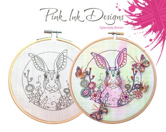 Animal embroidery pattern. Hare, rabbit hoop wall art.