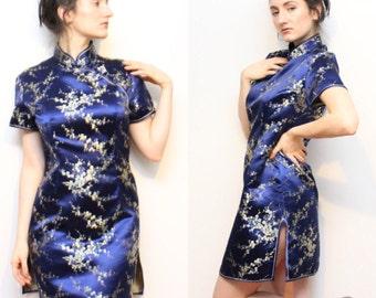 VTG Authentic Qi Pao Blue Floral Pure Silk Dress