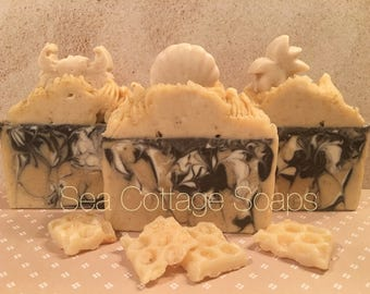 Buttermilk, Chamomile, Oatmeal Tropical Piped Cold Process Soap Bars