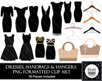 Dresses, Handbags and Hanger Clip Art - 18 Pieces Included - PNG Files #111