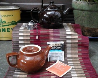 Charming vintage 2 mini teapots LB England with downturn spout and Hall USA Chocolate and Caramel brown colors