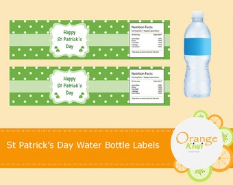 Happy St Patrick's Day Water Bottle Wraps, St Patrick's Day Party Decor, Waterproof Labels, Shamrock Party