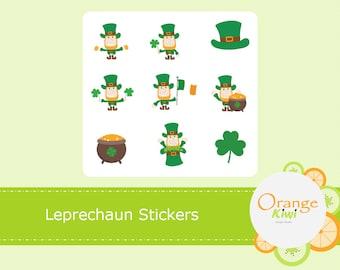 Leprechaun Stickers, Leprechaun Planner Stickers, St Patrick's Day Stickers, Leprechaun Scrapbooking Stickers