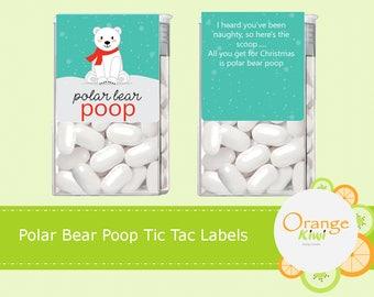 Polar Bear Poop Tic Tac Labels, Christmas Tic Tac Stickers, Polar Bear Stickers, Polar Bear Poop