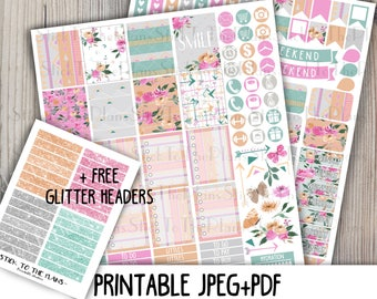 Tribal flowers printable planner stickers for your Erin Condren Life Planner TM watercolor spring floral weekly sticker kit arrow triangle