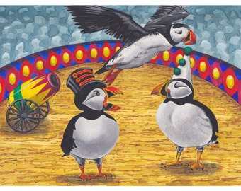 Fun Watercolour Illustration, 'A Circus of Puffins', Collective Nouns, Wordplay, Mounted Print, Original Design Wall Art, Pun Visual Humour