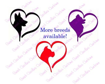 Dog Love Vinyl Decals-Many breeds available! Furbaby love, Love my Dog, Pet, rescue dogs, glitter decal