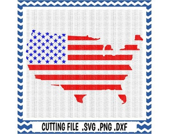 USA, American Flag Svg-Dxf-Fcm-Png Cutting File For Cricut Design Space and Silhouette Cameo, Svg Download