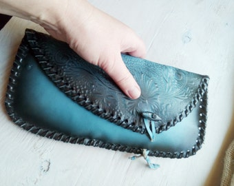 Vintage leather purse, teal leather purse, handmade