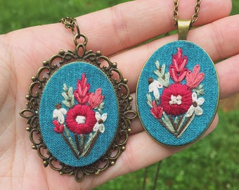 Hand Embroidered Necklace, womens pendant, teal linen fabric, spring palette, great gift