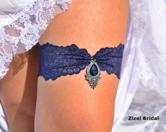 Wedding Garter, Blue Wedding Garter, Bridal Garter, Dark Blue Garter, Lace Blue Garter, Something Blue,Garter, Blue lace Garter, Garter Set