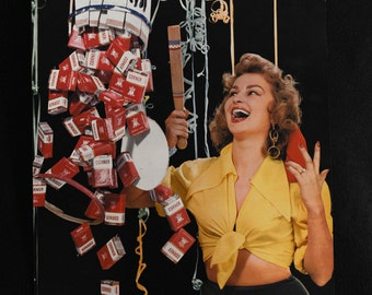 Danish interest Original vibrant Corner Cigarette's Advertising Poster feat. pinata pin-up girl printed by Andreasen and Lachmann - 1950's