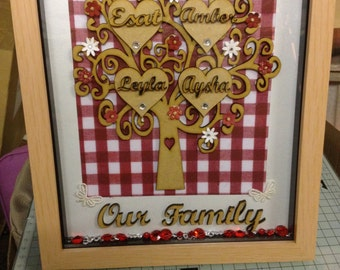 Family tree in a frame  8 x 10 in wood effect or white