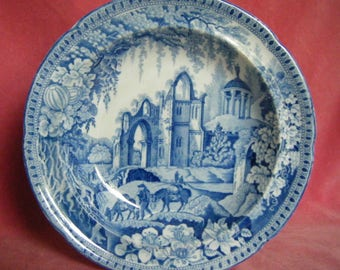 Antique c.1820 Pearlware Blue and White Transferware Soup Plate Gothic Ruins