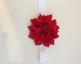 Red Flower Headband-- Valentine's day headband -- flower with elastic headband--
