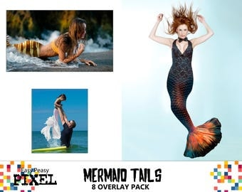 MERMAID TAIL Overlays, Photoshop Overlays, Mermaid Overlay, Mermaid Tails, Siren, PNG, Instant Download, Clip Art