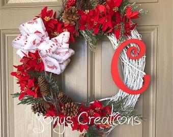 Grape vine wreath, winter wreath, christmas wreath, front door wreath