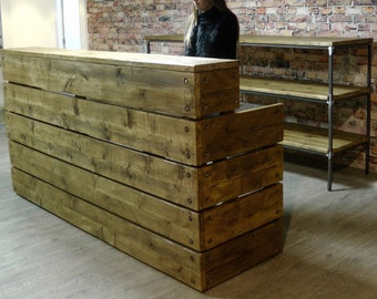 Chic Reclaimed Wood Office Desk shabby chic desk reclaimed wood desk shabby chic distressed wood desk wooden Reception Desk Reclaimed Wood Industrial Rustic Office Front Counter Chic Custom Made Office Bar Restaurant Coffee