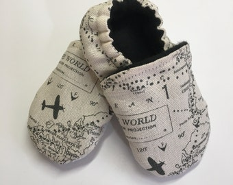 NAVIGATOR Tula Booties, baby map shoes, soft soled shoes black and white booties with planes airplane baby world map baby clothes with plane
