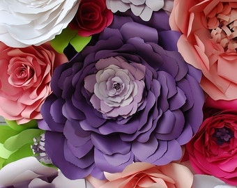 12 Handcrafted Paper Flowers Wall Decor