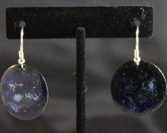 Midnight Blue Enameled Copper Earrings (022017-034)