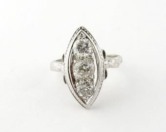 Antique 18K White Gold and 3 Old Mine Diamond Ring with Bow Detail Size 6.5 #518