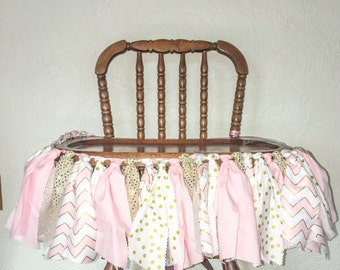 Pink and gold fabric garland , pink and gold high chair garland , fabric garlad, high chair garland