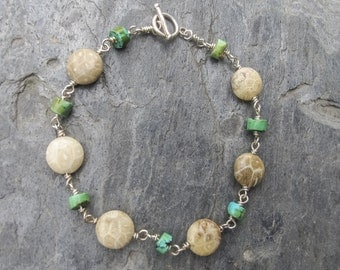 Fossilized coral and turquoise sterling silver bracelet