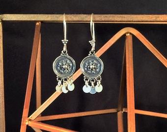 Sterling Silver Bohemian Shield Earrings