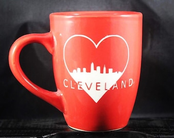 Cleveland Love - CLE - Ohio - Etched Ceramic - Tea Mug - Coffee Mug - Gift - Gift Ideas - This is Cle - Gifts for Him - Gifts for Her