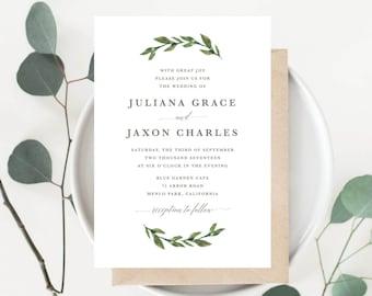 Printable Greenery Wedding Invitation | Watercolor, Green Leaves, Garden Wedding