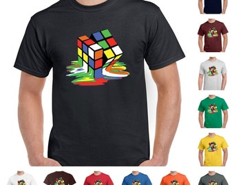 California Teez, Melting Rubik's Cube Sheldon Cooper Big bang Theory Funny Men's T-Shirt