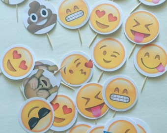 24-pack Assorted Emoji Cupcake Toppers (Pack A)