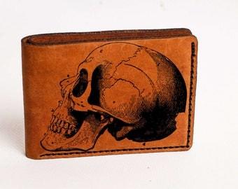 Wallet Skull Wallet Mens Leather Wallet Skull Wallet Bifold Wallet Engraved Personalized Custom Wallet Anniversary Husband Gift Man Skull