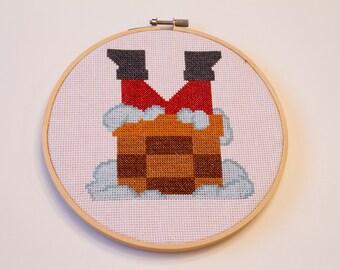 Santa Down Chimney Cross Stitch, Hoop Art, Christmas